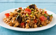 Turkish Pilaf with Pistachios and Chickpeas | recipe from FatFree Vegan Kitchen