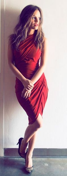 rachel bilson. always gorgeous. cute red wrap dress.