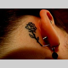 My behind the ear rose tattoo :) (change it to look like beauty and beast's rose)