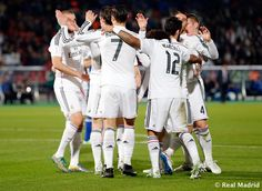 Gareth Bale and Cristiano Ronaldo of Real Madrid celebrate with teammates after scoring their third goal during the FIFA Club World Cup match between Cruz Azul and Real Madrid CF at Stade de Marrakech on December 16, 2014 in Marrakech, Morocco.