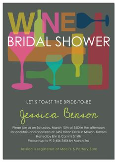 Wine Glass Stains Theme Bridal Shower Invitations - Modern Rustic ...