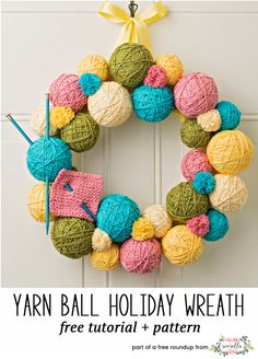 Crochet or knit this easy yarn ball holiday wreath from Simplicity, a free crochet pattern in my festive crochet christmas wreaths roundup!