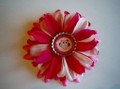 Fabric Flower Hair Clip Pink Red Valentine Owl by SweetieBeads, $8.00