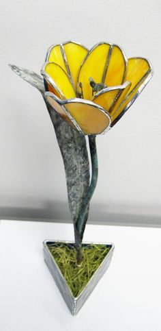 Too pretty, great craftsmanship! Tulip in Yellow/Orange  Stained Glass by GlassKissinCreations, $65.00