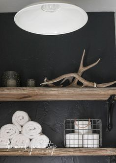 Decorating Shelves Above The Toilet by The Wood Grain Cottage - Furniture - - most beautiful shelves - Shelves Basement Inspiration, Bathroom Inspiration, Small Toilet Room, Small Bathroom, Home Decor Shelves, Cottage Furniture, Plank Walls, Upstairs Bathrooms, Diy Home Decor Projects