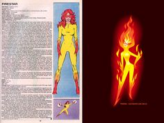 The Official Handbook to the Marvel Universe - REDUX Edition: FIRESTAR by Luc Latulippe. I love Firestar and LL awesome homage is, well, awesome. Dc Heroes, Comic Book Heroes, Comic Books, Marvel News, Marvel Dc Comics, Firestar Marvel, Character Drawing, Character Design, Tiger Artwork