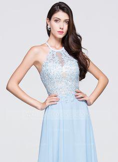 Vestidos princesa/ Formato A Decote redondo Longos De chiffon Vestido de baile com Bordado Apliques de Renda Lantejoulas (018070380)