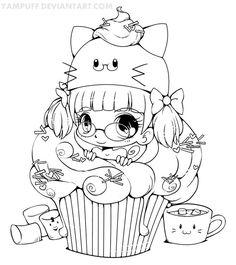 coloriage coloring cupcake fille kawaii