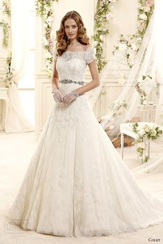 colet bridal 2015 style 28 coab15235iv off the shoulder short sleeves a line lace wedding dress