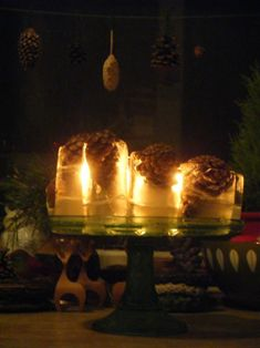 Frozen pine cones back lit by candle light