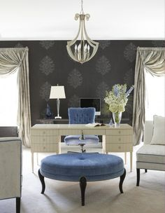 Glamorous Home Office. This lush home office features a Barbara Barry desk and Robert Allen ottoman. The charcoal wallpaper, creamy lacquered desk, blue velvet and silver silk all combine to bring glamour to a fashionable lady's home office. Home Office Space, Home Office Design, Home Office Decor, House Design, Home Decor, Office Ideas, Office Designs, Workspace Design, Office Decorations