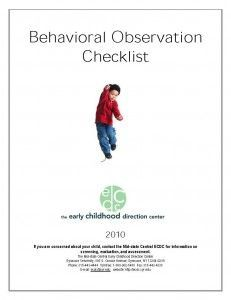 Behavioral Observation Checklist - All behavior is a form of communication. Providers/parents may have to work hard to determine what the behavior is communicating. This checklist will help with observations and questions regarding children and challenging behaviors.
