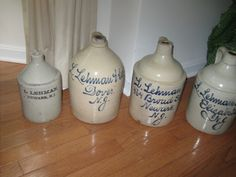 """A Collection of """"L. Lehman"""" antique stoneware """"script """"jugs collection. New Jersey stoneware."""