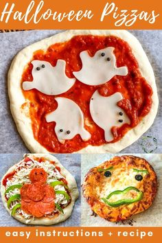 Get these fun and spooky pizza ideas that are perfect for Halloween! They are so easy that kids can make them. Serve them for lunch, dinner, or at a Halloween party. Adults and kids alike will love these fall Halloween pizzas. Simple instruction and recipe are included to make the ghost pizza, spider pizza, and pumpkin mini pizzas. Halloween Pizza, Halloween Fun, Easy Baking Recipes, Real Food Recipes, 30 Minute Meals, Vegetable Pizza, Easy Meals, Mini Pizzas, Pumpkin