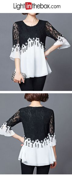 Women's Sexy Street chic Blouse - Color Block, Lace Round Neck