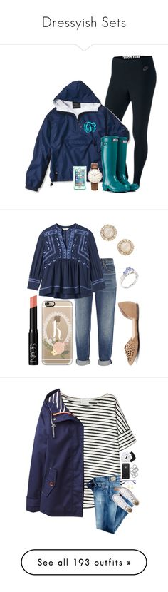 """""""Dressyish Sets"""" by southern-belle02 ❤ liked on Polyvore featuring NIKE, Hunter, Topshop, LifeProof, Alexander Wang, Rebecca Taylor, Breckelle's, Casetify, NARS Cosmetics and aaRaa"""