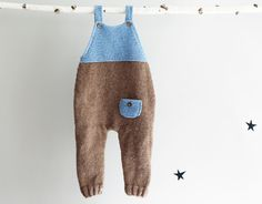 Hand Knit Overall, Knitted Baby Onepiece, Hand Knitted Babysuit