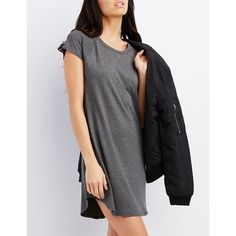 Charlotte Russe Raglan Sleeve Shift Dress ($20) ❤ liked on Polyvore featuring dresses, heather gray, short mini dresses, mini dress, curved hem dress, raglan dress and mini shift dress