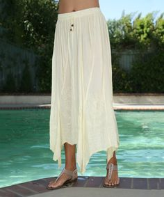Ananda's Collection Ivory Embroidered Drawstring Handkerchief Skirt