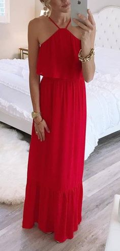 Red maxi dress.  #summer  #fashion #trends #style #streetstyle Fashion Lookbook, Women's Fashion, Fashion Outfits, Fashion Trends, Most Beautiful Dresses, Pretty Dresses, Girly Outfits, Cool Outfits, Red Maxi