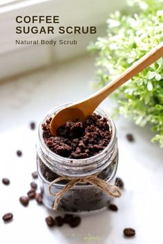 You need a Coffee Sugar Scrub in your life! Treat yourself to a refreshing spa-like DIY that's wonderful for exfoliation and pampering! It's made with coconut oil and all natural ingredients. Sugar Scrub Recipe, Sugar Scrub Diy, Diy Scrub, Sugar Scrubs, Natural Body Scrub, Natural Skin Care, Natural Beauty, Natural Face, Cellulite