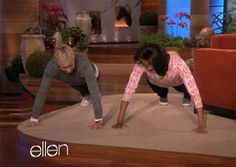 The First Lady and Ellen have a push-up contest on February 2, 2012.