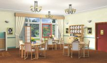 Find out what features can make a dining room easier to use for someone with dementia Alzheimer Care, Dementia Care, Architrave Door, Dining Room Images, Alzheimers Activities, Senior Activities, Wash Hand Basin, Alzheimer's And Dementia, Senior Fitness