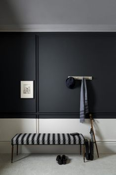 Paint Colour Trends For The New Key Colours To Paint Your House In — MELANIE LISSACK INTERIORS paint and paper library monochrome paint scheme. Black and white walls with wall panelling. Black Painted Walls, Dark Walls, White Walls, Interior Walls, Home Interior, Interior Styling, Interior Design, Natural Interior, Interior Office
