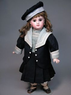 "All decked out in her Jumeau factory mariner's costume, this 18 1/2"" E.J. size 8 is quite a wonderful example, especially when you combine her original presentation with her stunning beauty."
