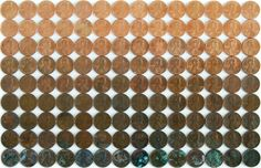 How cool is this?  Pennies arranged from most shine to most pantina.