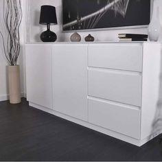Buffet/bahut contemporain 4 portes/1 tiroir chêne foncé Murano