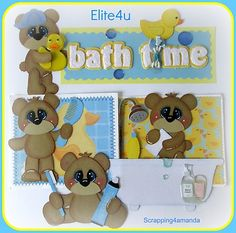 Have one to sell? Sell it yourself   ELITE4U KAM PREMADE TEAR BEAR BOY BATH PAPER PIECING MAT SET FOR PAGE ALBUM