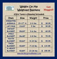 Weight On Me Weighted Blankets - Weighted Blankets, Weighted Lap Pads, HUNDREDS of fabrics to build your custom blanket, and.... Shipping is included in our low Prices!