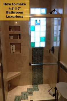 Yes - 5' x 8' bathrooms can be luxurious too! Learn how a family in Toledo Ohio small spa have a spa-like feeling with an interesting glass tile floor and wall, marble floors and walls and a frosted and colored glass block wall. Learn more in this article:  http://blog.innovatebuildingsolutions.com/2014/05/16/bathroom-remodeling-part-preparation-inspiration-dash-improvisation/ #InnovateBuilding