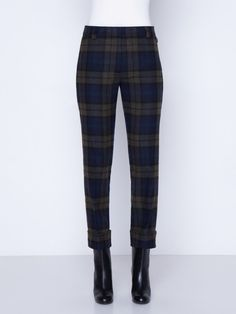 Pant in wool flannel plaid with front closure. The pants feature zip pockets, a cropped conical leg and cuffs Plaid Pants, Plaid Flannel, Knit Cardigan, Cuffs, Cashmere, Pajama Pants, Trousers, Closure, Pockets