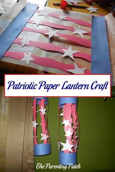 How to make a patriotic red, white, and blue paper lantern for Memorial Day, Flag Day, Independence Day, and Labor Day.