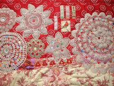 Beautiful work using crochet doilies & patchwork.