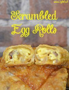 Scrambled Egg Rolls. Scrambled eggs, sausage, bacon and cheese all rolled up in an egg roll. Easy grab me food for breakfast.  #eggrolls #breakfast #scrambledeggs http://www.3glol.net
