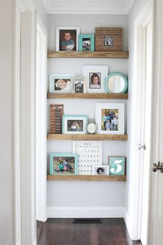 How to build narrow floating shelves with a picture ledge. Such a great way to decorate the end of a hallway!