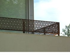 laser cut outdoor metal screen would make a great railing.maybe with a wooden top rail Steel Railing, Patio Railing, Patio Stairs, Railing Design, Staircase Design, Railing Ideas, Laser Cut Metal, Laser Cutting, Stainless Steel Balustrade