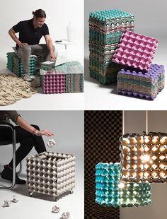 Möbel aus recycelten Eierkartons - y Manualidades Reciclaje y Manualidades Ideas y Manualidades ✂️ Cardboard Furniture, Cardboard Crafts, Recycled Furniture, Recycled Crafts, Recycled Materials, Recycled Tires, Cardboard Boxes, Paper Crafts, Diy Home Crafts