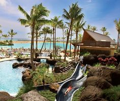 Paradise Pool, Hilton Hawaiian Village in Waikiki.   That's going to be me on the water slide hehe