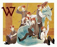 Harry Potter, Bill Weasley, Percy Weasley, Charlie Weasley, George Weasley, Fred Weasley, Ron Weasley, Ginny Weasley