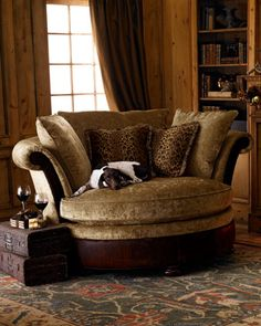 Massoud Coca Wildlife Cuddle Chair  Exclusively ours. Escape into the embrace of a chenille chair while surrounding yourself with silk and velvet throw pillows plumped with goose down. You wont want to leave