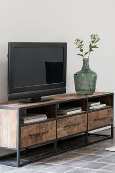 Tough open TV furniture made from old recycled teak and steel frame. Welded Furniture, Log Cabin Furniture, Industrial Design Furniture, Cabinet Furniture, Home Decor Furniture, Furniture Projects, Furniture Making, Japanese Interior Design, Tv Wall Decor
