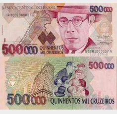 Brasil / 500.000 cruzeiros Nostalgia Critic, Win For Life, Money Notes, Valuable Coins, Show Me The Money, World Coins, Ephemera, Brazil, Kawaii Stickers