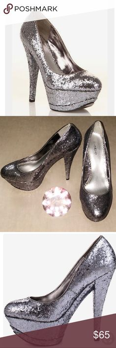 💎💎 Bebe Tristan Pewter Glittery Pump 💎💎 💎💎 Shine bright like a diamond in these powerful Bebe Pump 💎💎The Tristan features a seductive silhouette perfected with a glitzy pewter glitter that covers every inch of the shoe 💎  FYI: These babies were my 2017 New Years shoe , worn once and in perfect condition 💃🏽  💃🏽 ALL REASONABLE OFFERS ACCEPTED 💃🏽  Shoe Details: ✨ 1 3/4 inch platform  ✨ 5 inch heel ✨ This Shoe Fits True to Size ✨ Did I mention they're SUPERRR CUTTTEEE AND COMFYYY…