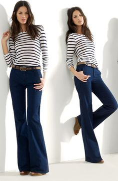 Wide-Leg Jeans with Classic Nautical Stripes.   A little pricey but love the look.