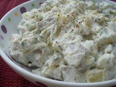 "Dill and Sour Cream Potato Salad from Food.com:  								A different twist on ""traditional"" potato salad, this one is simple to make and delicious to eat. Cooking time includes overnight refrigeration."