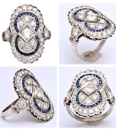 Art Deco Sapphire Diamond Dinner Ring.  Platinum large cocktail dinner ring in the shape of a figure 8, embellished with numerous custom cut calibre cut sapphires and set with numerous old cut diamonds weighing approximately 1.50 cts; very high quality stones.